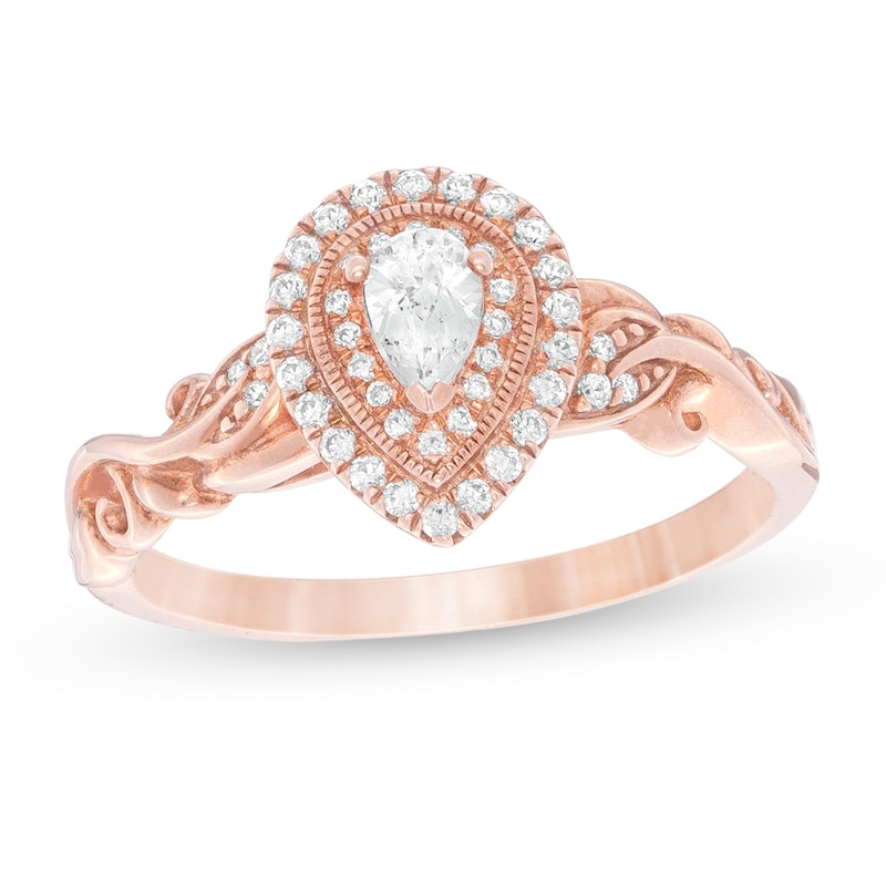 1 3 Ct T W Pear Shaped Diamond Double Frame Vintage Style Engagement Ring In 14k Rose Gold Zales Outlet