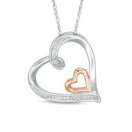 Diamond Accent Tilted Double Heart Pendant in Sterling Silver and 10K Rose Gold