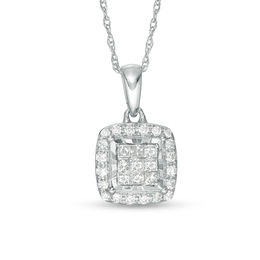 1/4 CT. T.W. Princess-Cut Composite Diamond Frame Pendant in Sterling Silver