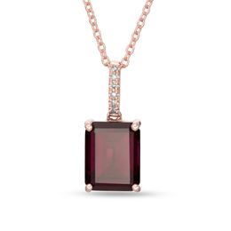 EFFY™ Collection Octagonal Rhodolite and Diamond Accent Drop Pendant in 14K Rose Gold