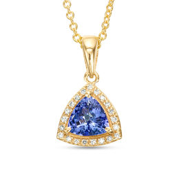 EFFY™ Collection 6.0mm Trillion-Cut Tanzanite and 1/20 CT. T.W. Diamond Frame Drop Pendant in 14K Gold