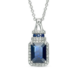 EFFY™ Collection Emerald-Cut Blue Sapphire and 1/8 CT. T.W. Diamond Frame Split Bale Pendant in 14K White Gold
