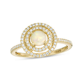 EFFY™ Collection 5.0mm Opal and 1/4 CT. T.W. Diamond Double Frame Ring in 14K Gold