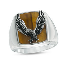EFFY™ Collection Men's Tiger's Eye Eagle Overlay Signet Ring in Sterling Silver - Size 10