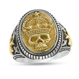 EFFY™ Collection Men's Crowned Skull Rope Frame Oval Signet Ring in Sterling Silver and 18K Gold Plate - Size 10