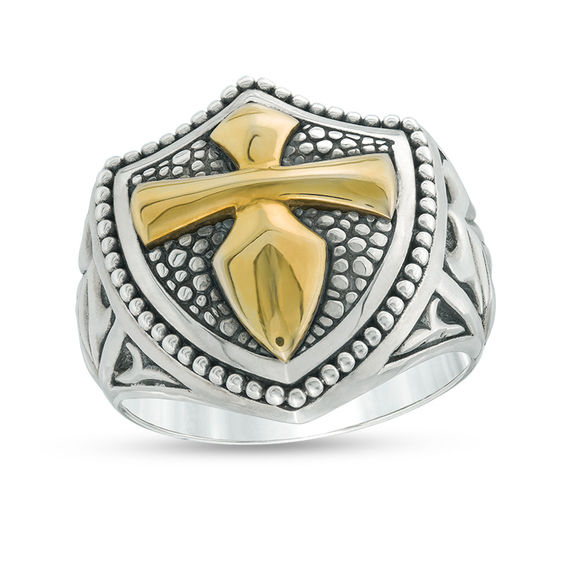 Effy Collection Mens Gothic Style Cross Bead Frame Shield Ring In Sterling Silver And