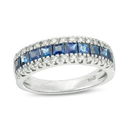 EFFY™ Collection Princess-Cut Blue Sapphire and 1/8 CT. T.W. Diamond Triple Row Ring in 14K White Gold