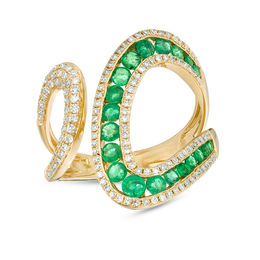 EFFY™ Collection Emerald and 3/8 CT. T.W. Diamond Open Loop Shank Wrap Ring in 14K Gold