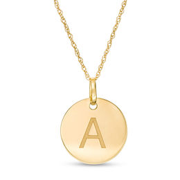 "Small Disc Uppercase ""A"" Pendant in 10K Gold"