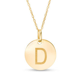 "Small Disc Uppercase ""D"" Pendant in 10K Gold"