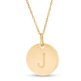 "Small Disc Uppercase ""J"" Pendant in 10K Gold"