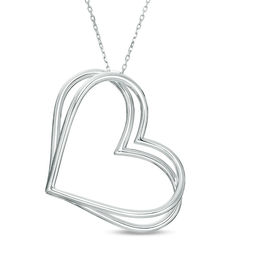The Kindred Heart from Vera Wang Love Collection Tilted Pendant in Sterling Silver - 19""