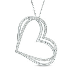 The Kindred Heart from Vera Wang Love Collection 1/2 CT. T.W. Diamond Tilted Pendant in 10K White Gold - 19""