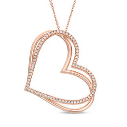 The Kindred Heart from Vera Wang Love Collection 1/2 CT. T.W. Diamond Tilted Pendant in 10K Rose Gold - 19""