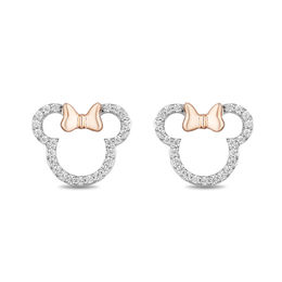 Mickey Mouse & Minnie Mouse 1/5 CT. T.W. Diamond Outline Stud Earrings in Sterling Silver and 10K Rose Gold