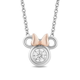 Mickey Mouse & Minnie Mouse 1/4 CT. Diamond Solitaire Pendant in Sterling Silver and 10K Rose Gold - 19""