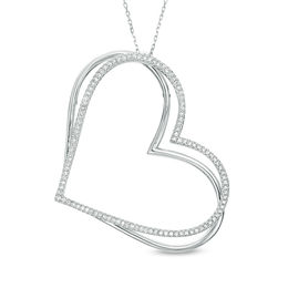 The Kindred Heart from Vera Wang Love Collection 5/8 CT. T.W. Diamond Tilted Pendant in Sterling Silver - 19""