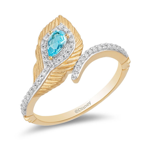 4900f085657 Enchanted Disney Jasmine Pear-Shaped Blue Topaz and 1 6 CT. T.W. Diamond